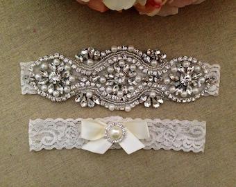 Wedding Garter - Rhinestone Bridal Garter -  Crystal Rhinestone Lace Garter and Toss Garter Set