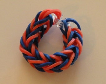 Fishtail Rubber band ring or American Girl Doll Bracelet  By Brittani blue and orange Auburn colors or Custome colors Latex Free