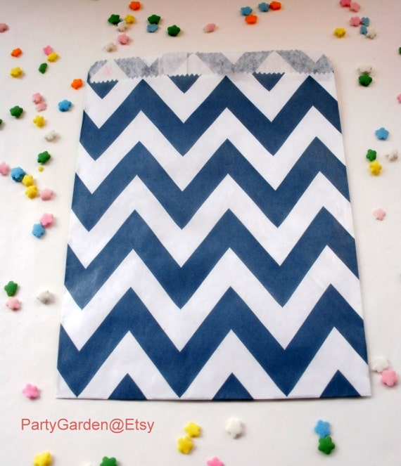 12 Navy Blue Chevron Party Favor Bags Treat Candy Baking Gifts Cookies