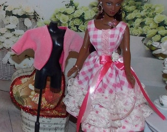 """1:6 Scale Fashion Doll Clothes """"Sweet Romance"""" Checkers & Lace Beautiful Dress with a Pink Jacket . ."""