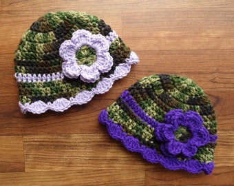 Crocheted Baby Girl Camo & Purple Hat Set, Twin Hat Set with Flowers, Camo with Royal Purple/Lavender, Newborn to 24 Months - MADE TO ORDER