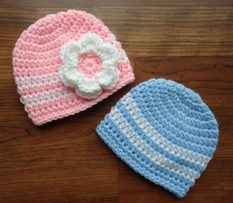 Crochet Hat Patterns For Twin Babies : Crocheted Baby Twin Hat Set Twin Boy/Girl Hat by ...
