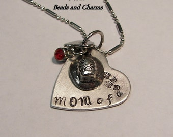 Sterling Hand stamped jewelry ,personalized, engraved jewelry,fire mom, Mom  of a  hero charm, custom handstamped ,fireman necklace,