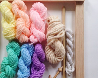 yarn packs for using a weaving loom to make a wall hanging including vintage, hand spun and hand dyed wool