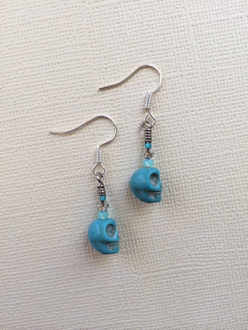 on sale turquoise skull earrings by pennyjules on etsy