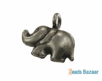 Karen Hill Tribe silver Plain Elephant Charm, 15 mm