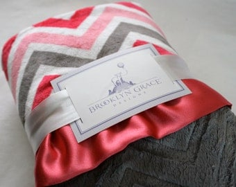 Watermelon, Coral, Charcoal and White Chevron Minky with Charcoal Embossed Chevron & Coral Satin - Baby Girl, Crib Bedding, Infant, Toddler