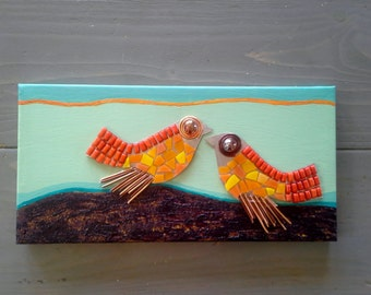 MOSAIC BIRDS  in Orange Red Copper, and Blues