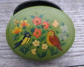 Vintage Papier Mache Lacquered Trinket Box - Made in Kashmir - Bird Trinket box
