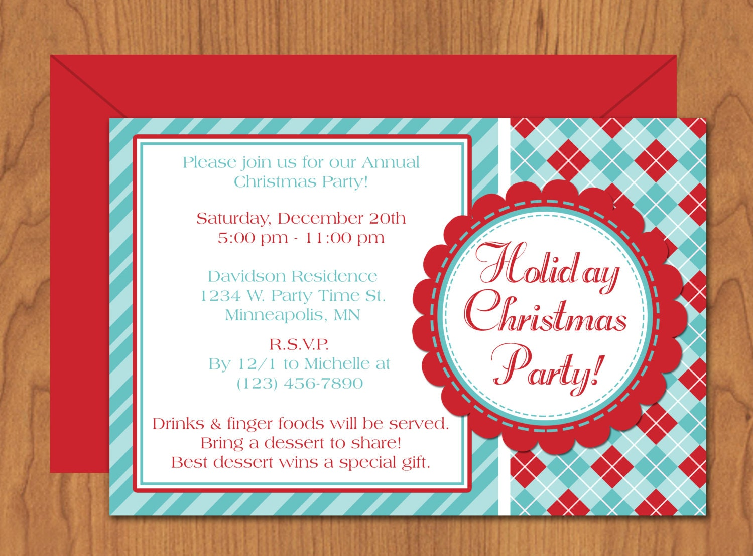 Christmas Party Invitation Editable Template by MyDIYDesigns