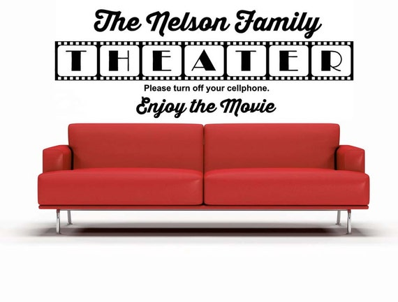 Theater Room Personalized Customize Movie Theatre Decal