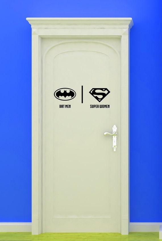 Bat super woman women bathroom restrooms by vinylwalllettering for Batman fairy door
