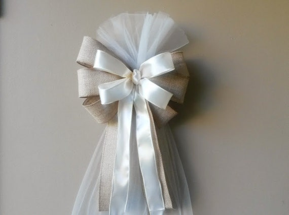 Ivory Pew Bows-Rustic Burlap-Wedding Decorations-Chair By