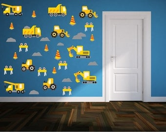 Kids Truck Wall Decals SET - Construction Wall Decals - Baby Boys Bedroom Room - Truck Wall Decal  - Premium  Quality Repositionable