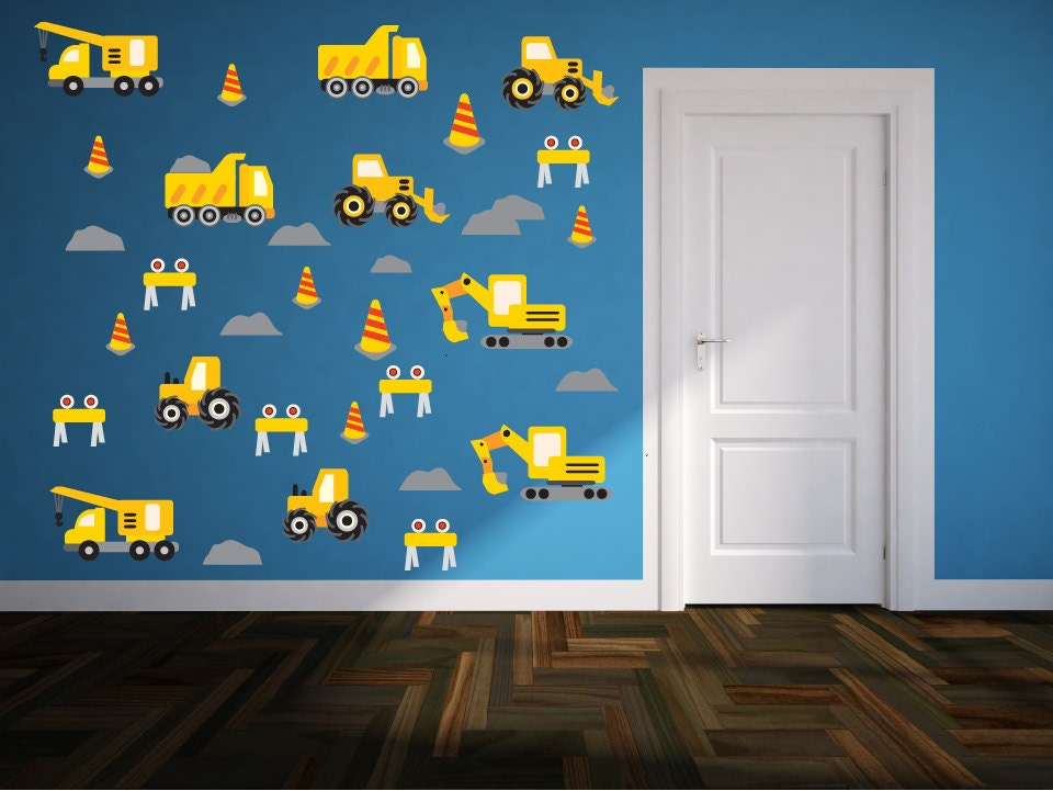Kids Truck Wall Decals Set Construction Wall Decals Baby