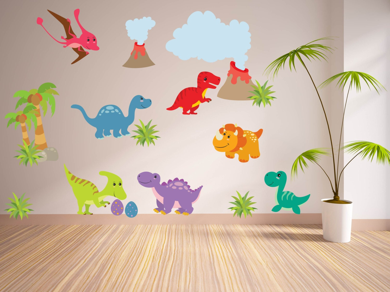 Wall decals for kidsbedroom dinosaur wall decal tree for Dinosaur wall decals for kids rooms