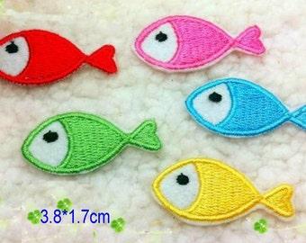 Wholesale LOT  20PCS   Multi colors  fish iron on  Applique Patches