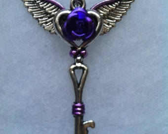 Purple & Silver Winged Rose Key