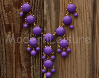 Purple Bubble necklace for girls Bib necklace statement necklace gift Chunky Necklace for holiday gift Beaded necklace statement jewelry