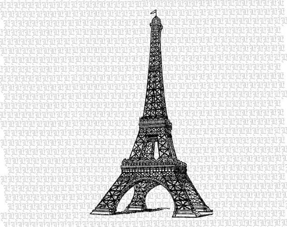Eiffel Tower French Paris Monument Antique Victorian