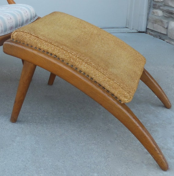 Danish Footstool Mid Century Modern Footrest Curved Wood