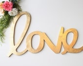 "Wedding Love Sign: oversized gold leaf ""love"" calligraphy sign"