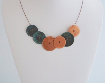 Copper and Leather Necklace - Circles