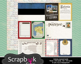 Estonia Journal Cards. Digital Scrapbooking. Project Life. Instant Download.