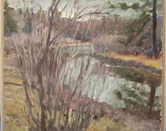 Original Landscape Oil Painting- Lake in March