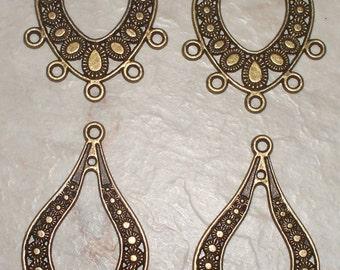 4 Large Antiqued Bronze Open Teardrop  Chandeliers/Connectors