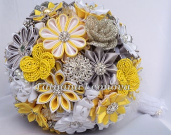 """Fabric Wedding Bouquet, brooch bouquet """"Chic"""", Yellow, Silver and White"""
