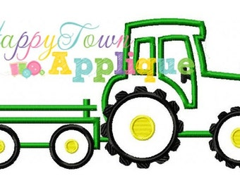 Tractor With Trailor Machine Embroidery Design