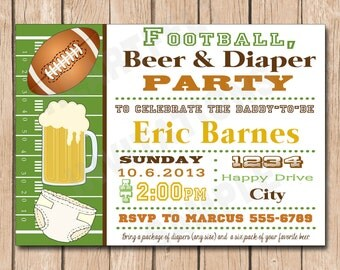Beer and Diaper Shower Invitation Girl Man Shower Man Diaper