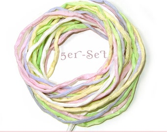 """5 Silk Ribbons """"Pastel"""" 1 meter, rolled and sewn, hand colored, 05 Ponge Silk"""