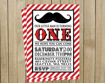 Little Man Mustache First Birthday Invitation, Red, Printable, Custom Digital File