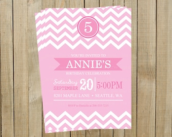 Pink Chevron Birthday Invitation, Any Age, Printable, Custom Digital File