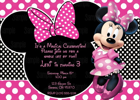 Printable Minnie Mouse Invitation Plus Free Blank Matching