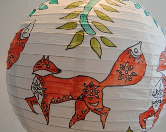 Foxy goes a courting - hand painted lampshade