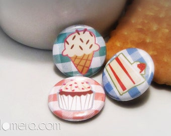 "Lovely Sweets, 1"" Pins, Cake, Cupcake, Ice cream, Pastries, Dessert, Stocking Stuffers"