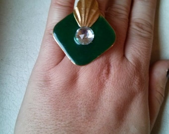 Handmade Art Deco Style Enamel and Metal Adjustable Ring