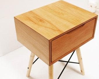Bedside Table/ Nightstand/ Mid century Modern/ Handmade/ Custom made