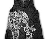 Ethnic Elephant Print  Women's Racer back Tank Top