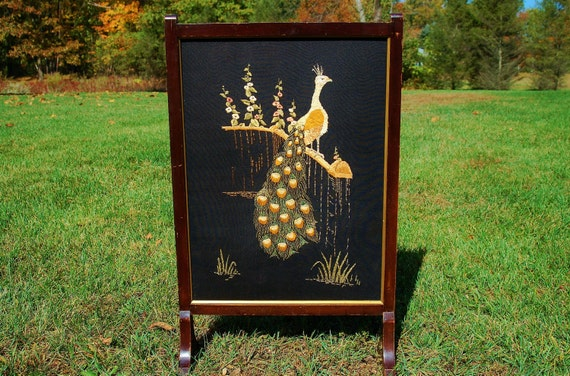 antique fireplace screen embroidery in by cobblestonesvintage