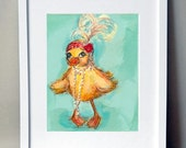 Roaring 20's Vintage style Duckling-Betty The Flapper Duck hand signed art print - JennyDaleDesigns