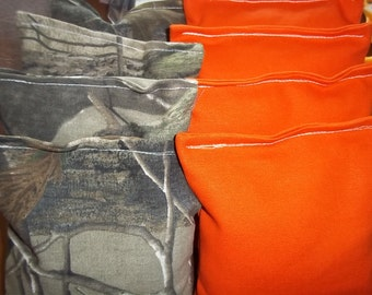 8 ACA Regulation Cornhole Bags - 8 handmade 4 Camo & 4 Orange
