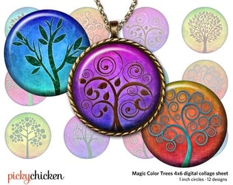 Tree of Life - 1 inch circles 25mm - 4x6 page rainbow color trees digital collage sheet printable - Instant Download pc2128