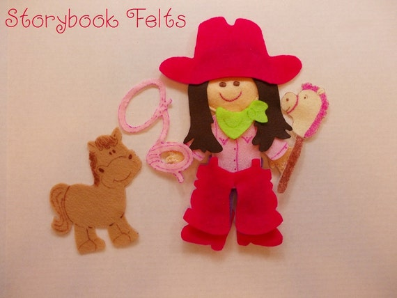 Storybook Felts Felt My LIittle Cowgirl Doll Dress Up Set 15 PCS Made To Order