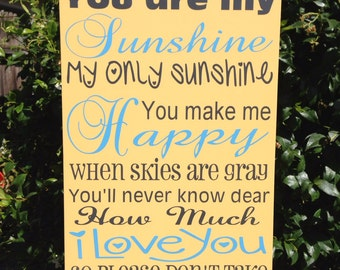 "You Are My Sunshine Wood Sign Nursery Baby Decor Song Lyric Baby Shower Gift 12""x20"" Gray and Yellow Nursery Baby Shower Gift"