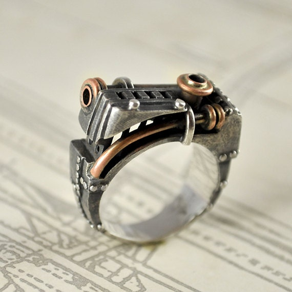 Custom Made Sossi Jewelry Home: Silver Handmade Steampunk Industrial Ring