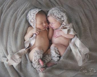 RTS,Bonnet and Legging Set ,newborn girl bonnet , newborn bonnet, lace bonnet